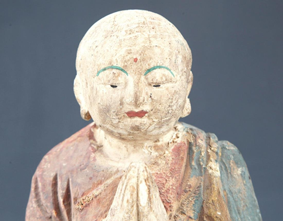 A FINELY PAINTED WOODEN BUDDHA FIGURE - 2