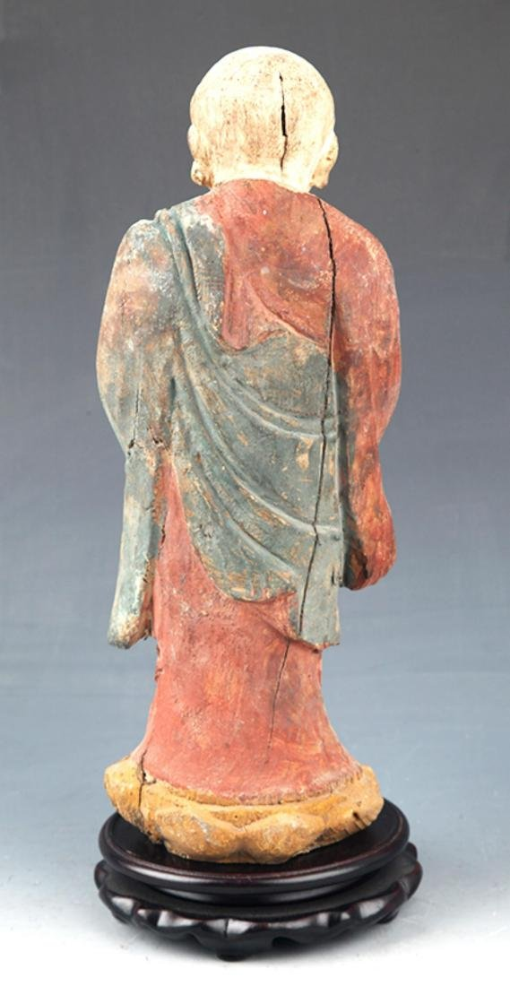 A FINELY PAINTED WOODEN BUDDHA FIGURE - 4