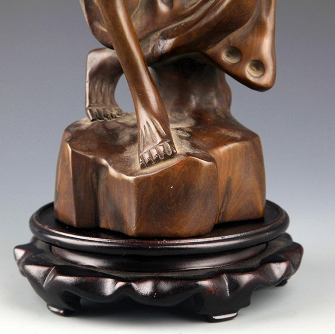 A BOXWOOD CARVING IN FIGURE OF BODHIDHARMA - 8