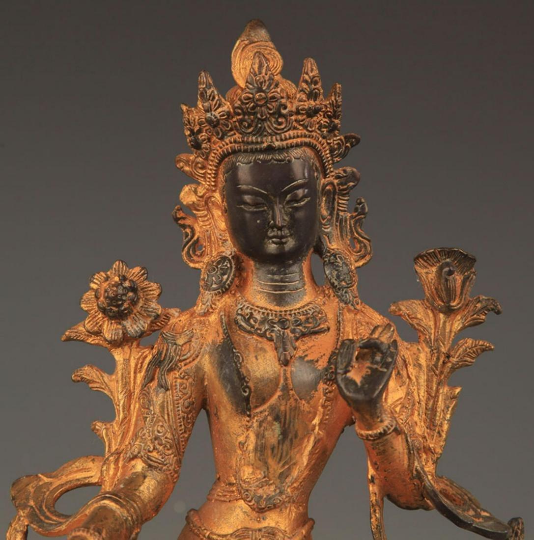 A TIBETAN BUDDHISM BRONZE GREEN TARA STATUE STATUE - 2