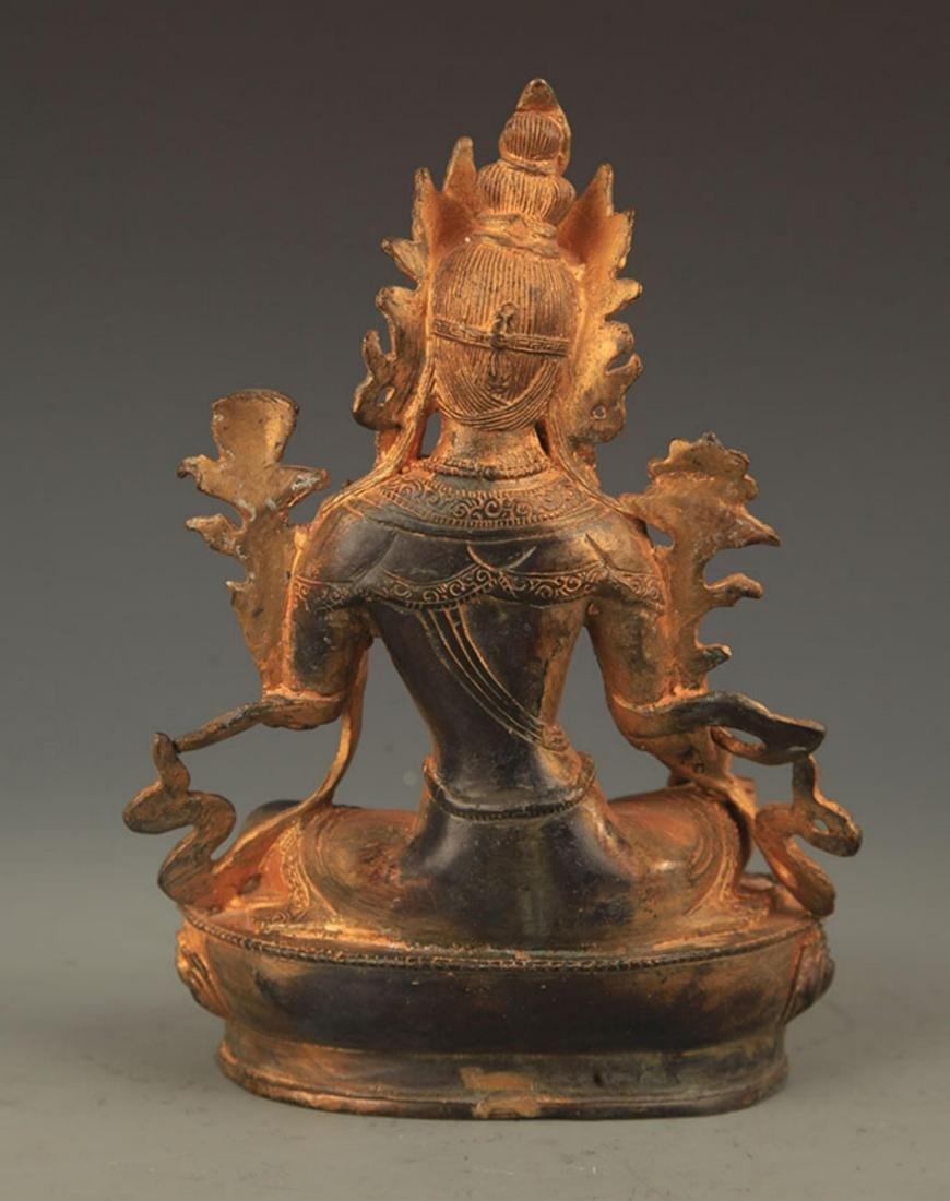 A TIBETAN BUDDHISM BRONZE GREEN TARA STATUE STATUE - 4