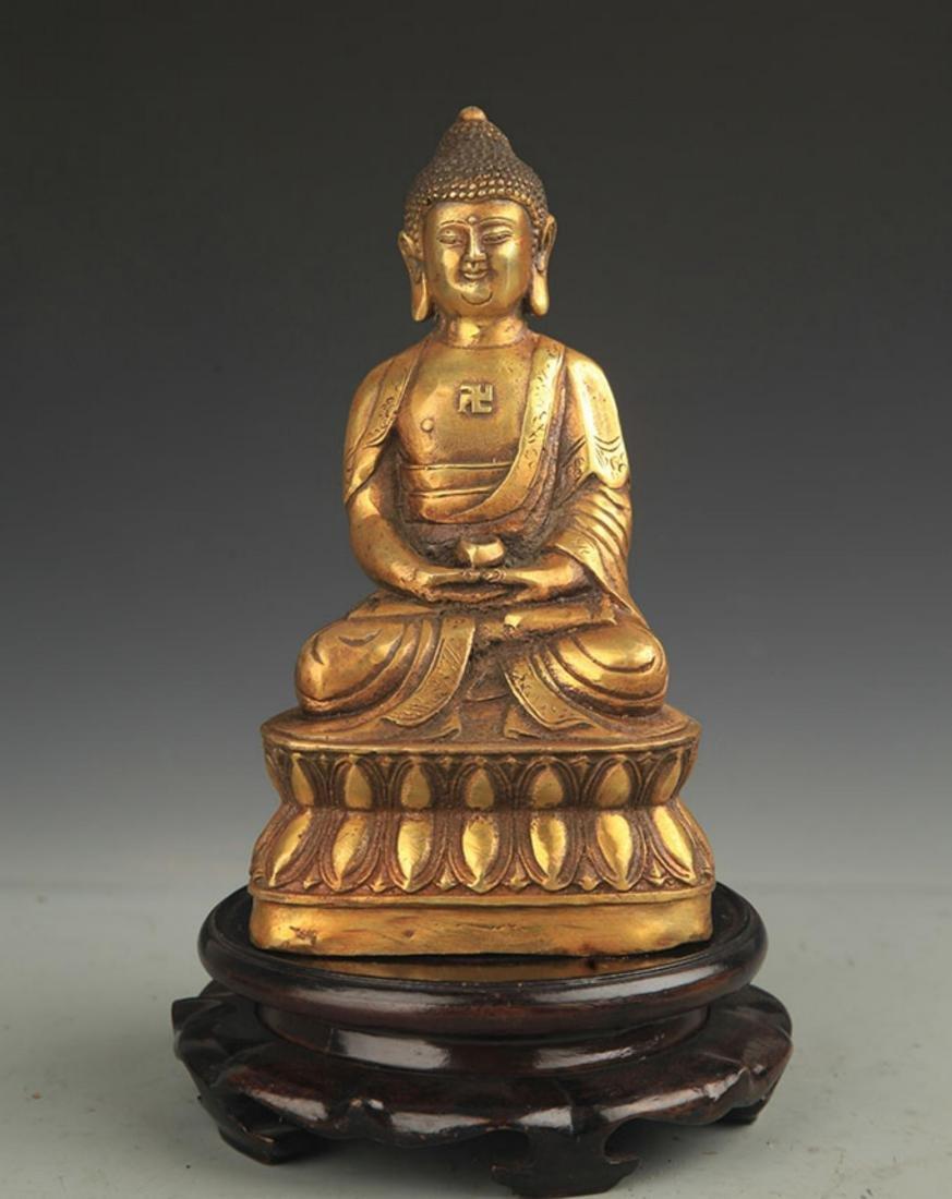 TIBETAN BUDDHISM BRONZE AMITABHA STATUE