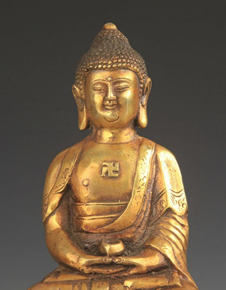TIBETAN BUDDHISM BRONZE AMITABHA STATUE - 2