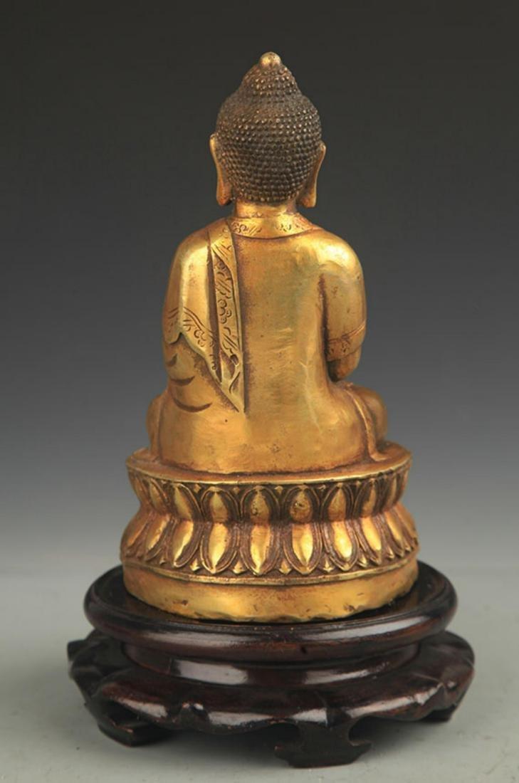 TIBETAN BUDDHISM BRONZE AMITABHA STATUE - 4