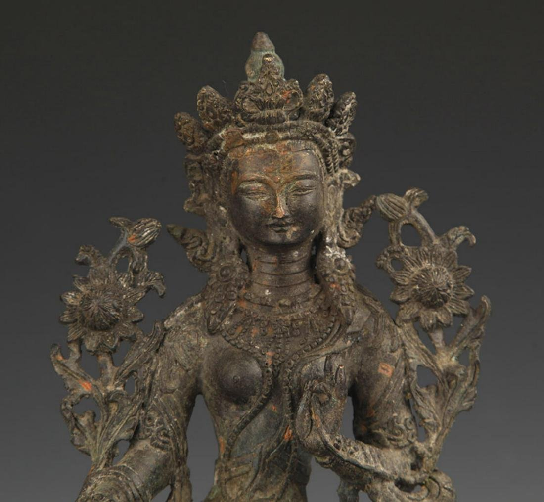 A TIBETAN BUDDHISM BRONZE GREEN TARA STATUE STATUE - 3