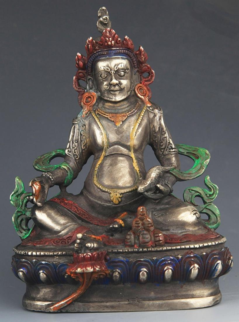 A COLORED BRONZE YELLOW JAMBHALA BUDDHA FIGURE