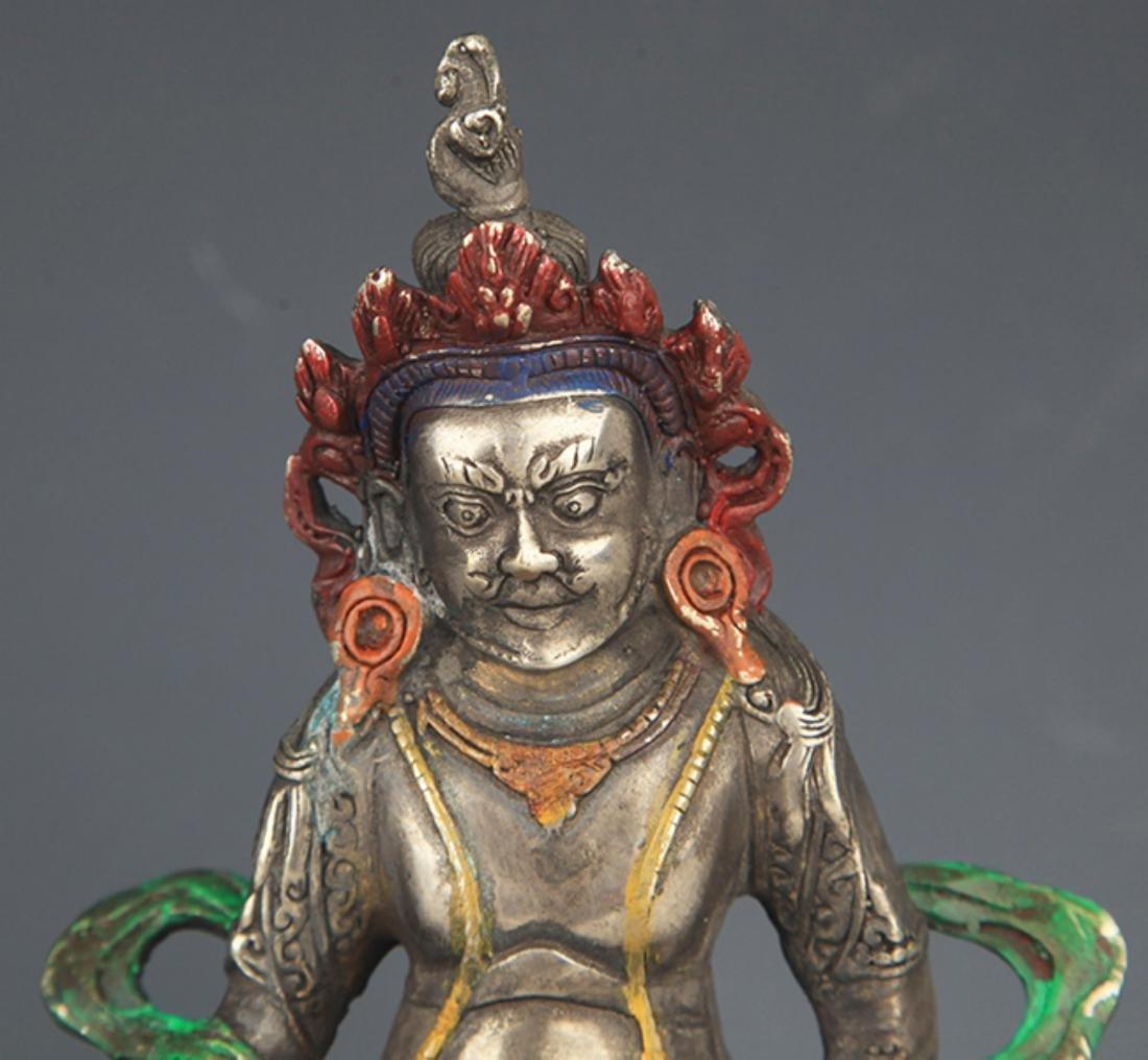 A COLORED BRONZE YELLOW JAMBHALA BUDDHA FIGURE - 2