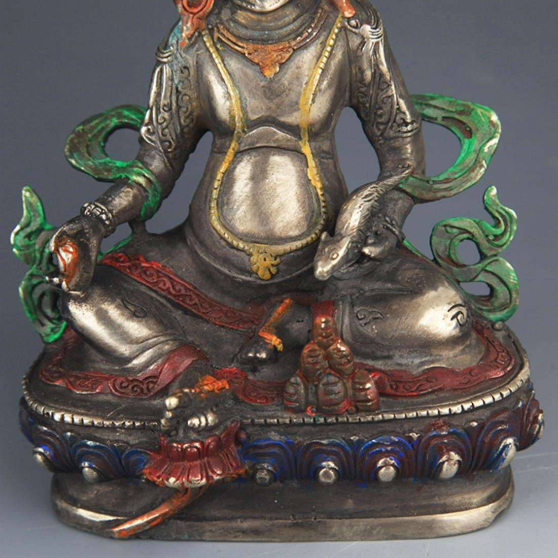 A COLORED BRONZE YELLOW JAMBHALA BUDDHA FIGURE - 3