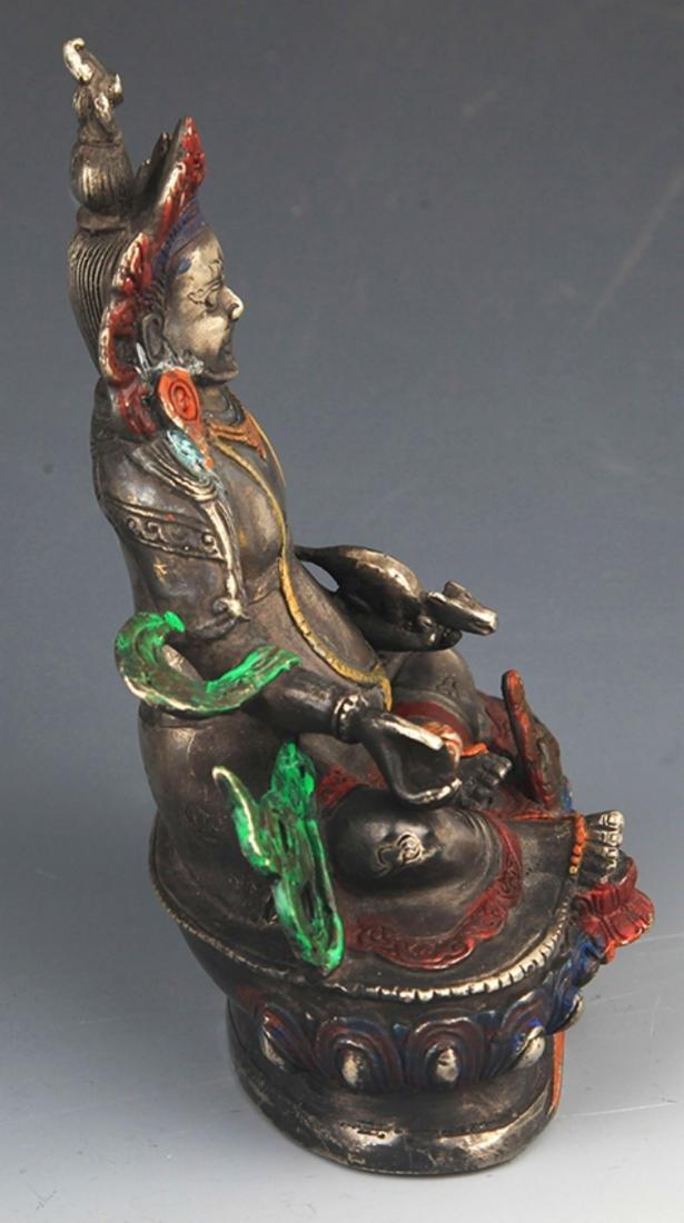 A COLORED BRONZE YELLOW JAMBHALA BUDDHA FIGURE - 4
