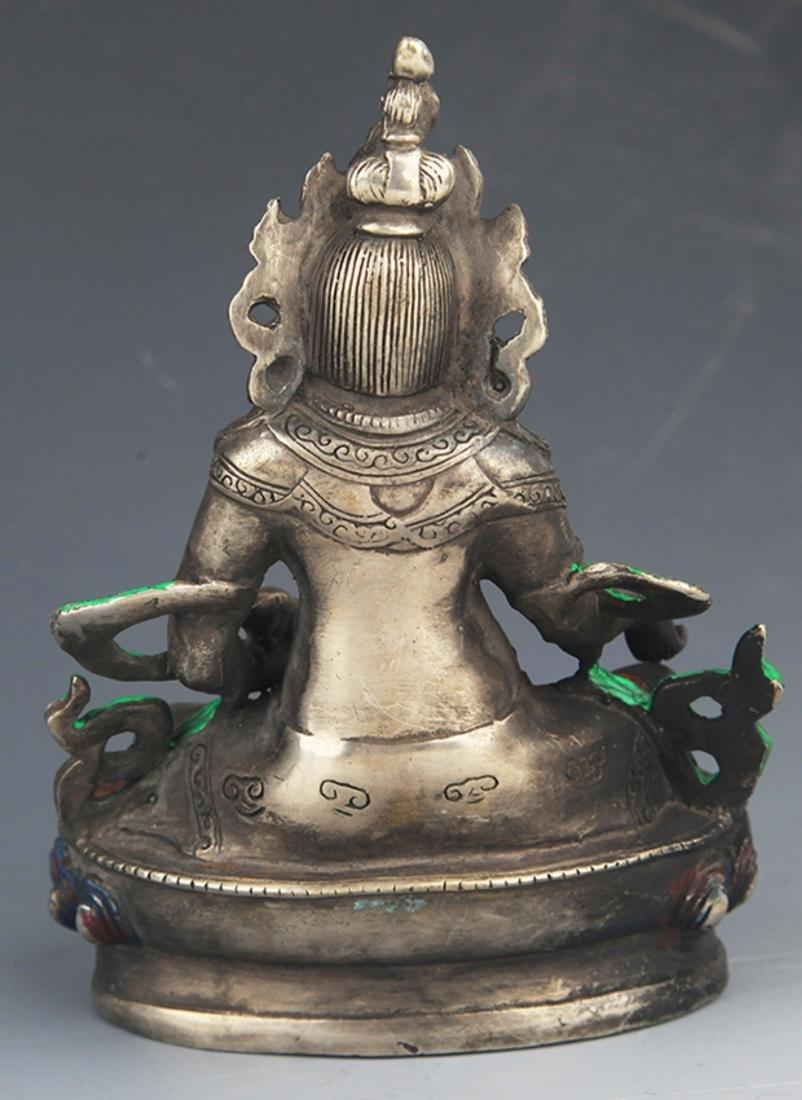 A COLORED BRONZE YELLOW JAMBHALA BUDDHA FIGURE - 5