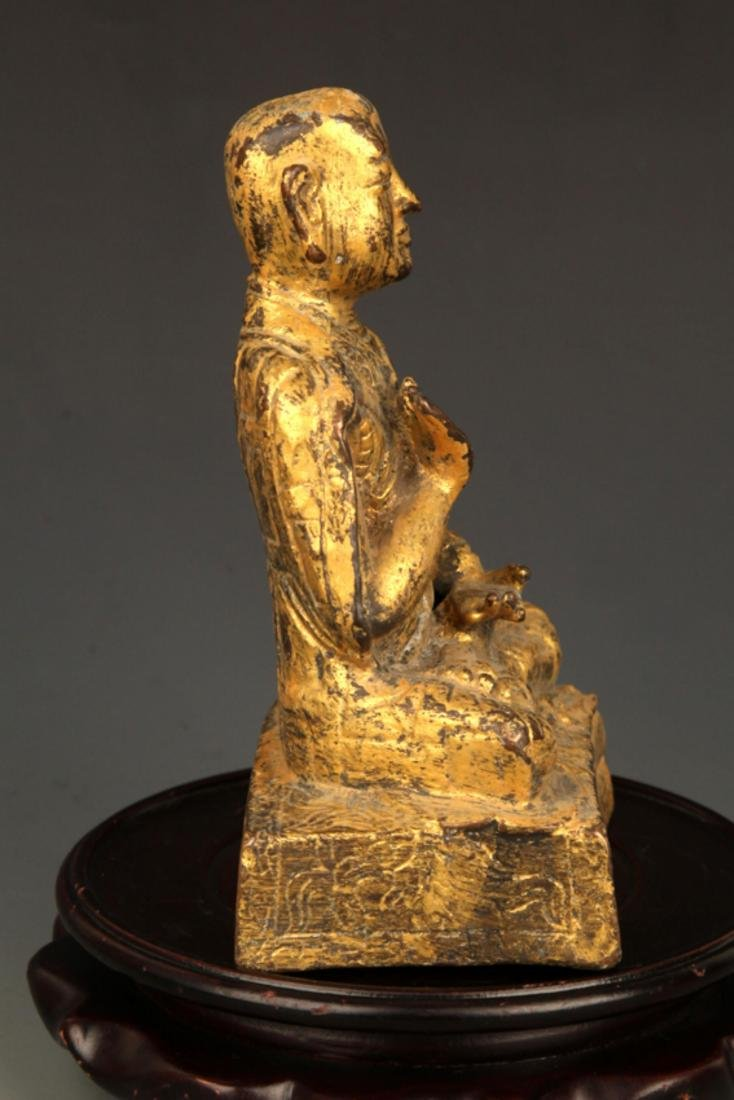 A FINE GILT BRONZE STATUE IN FIGURE OF GANDHARA - 5