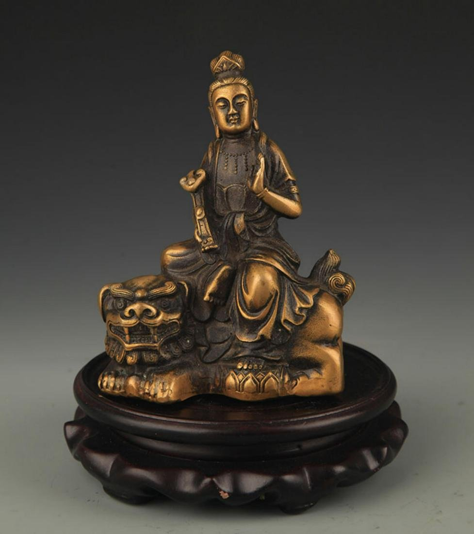 A TIBETAN BUDDHISM BRONZE MANJUSHRI STATUE