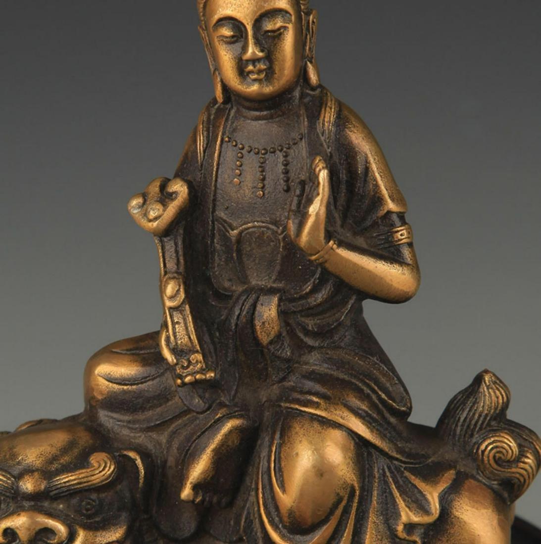 A TIBETAN BUDDHISM BRONZE MANJUSHRI STATUE - 2