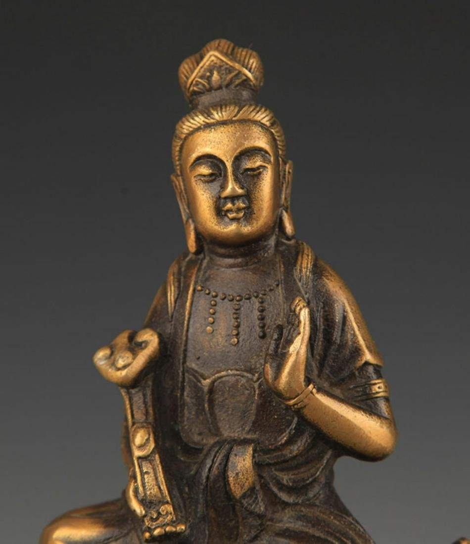 A TIBETAN BUDDHISM BRONZE MANJUSHRI STATUE - 3