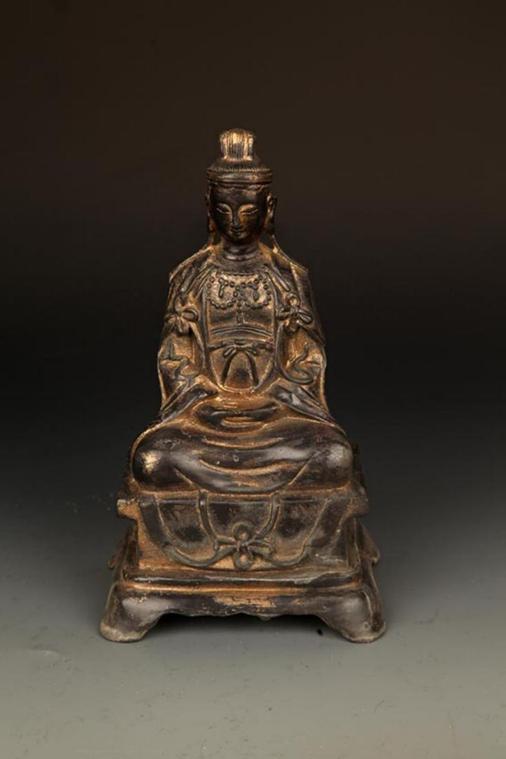 A LARGE AMITAYUS BUDDHA BRONZE FIGURE