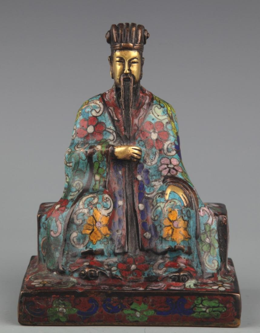 A BRONZE ENAMEL MODEL IN FIGURE OF TAOIST PRIEST