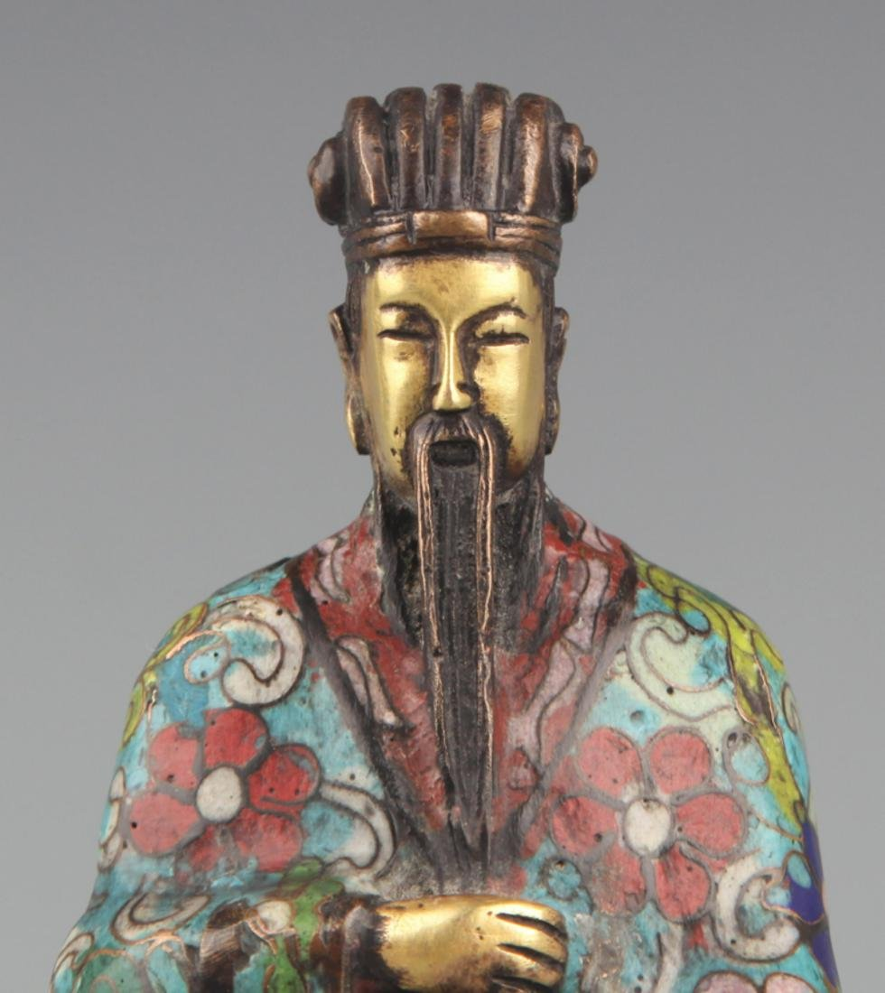 A BRONZE ENAMEL MODEL IN FIGURE OF TAOIST PRIEST - 2
