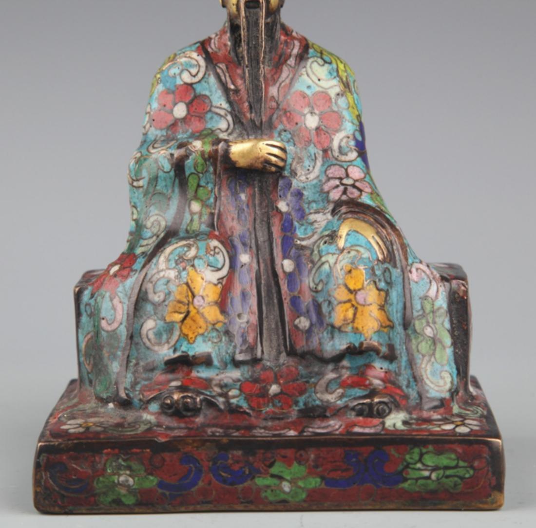 A BRONZE ENAMEL MODEL IN FIGURE OF TAOIST PRIEST - 3