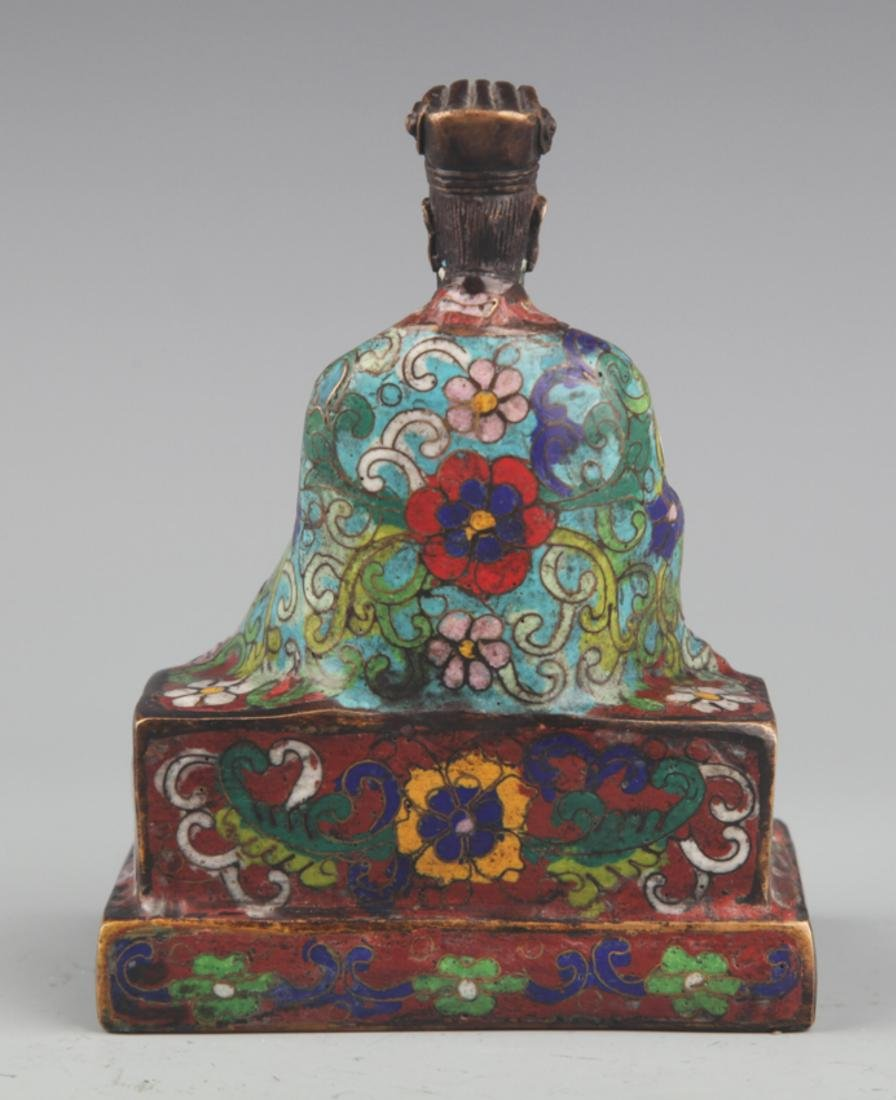 A BRONZE ENAMEL MODEL IN FIGURE OF TAOIST PRIEST - 4
