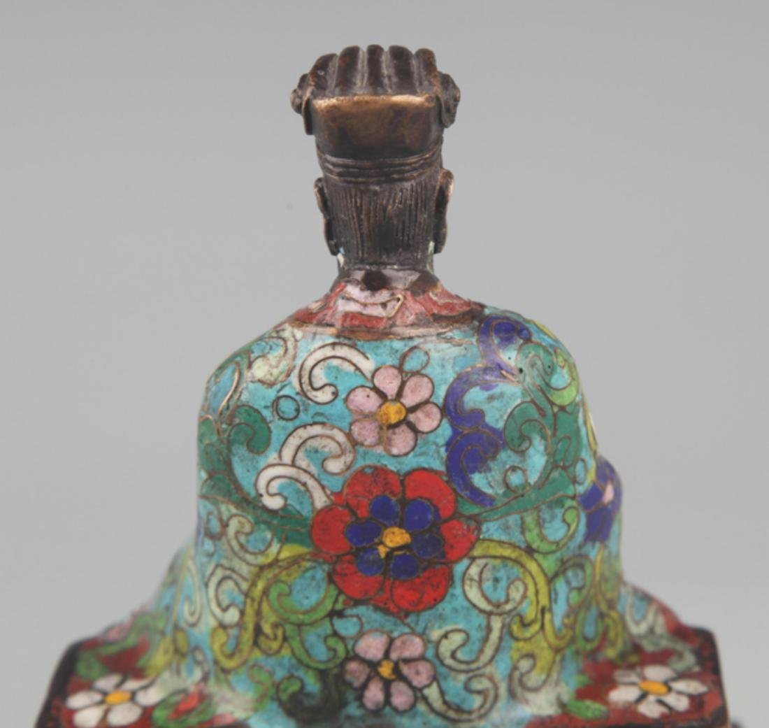 A BRONZE ENAMEL MODEL IN FIGURE OF TAOIST PRIEST - 5