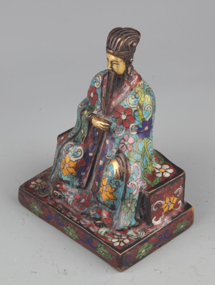 A BRONZE ENAMEL MODEL IN FIGURE OF TAOIST PRIEST - 6