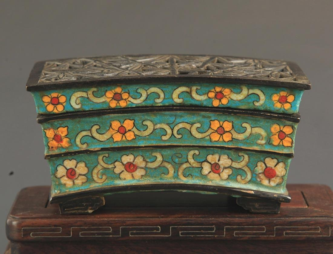 A BRONZE CLOISONNE BAMBOO STYLE AROMATHERAPY