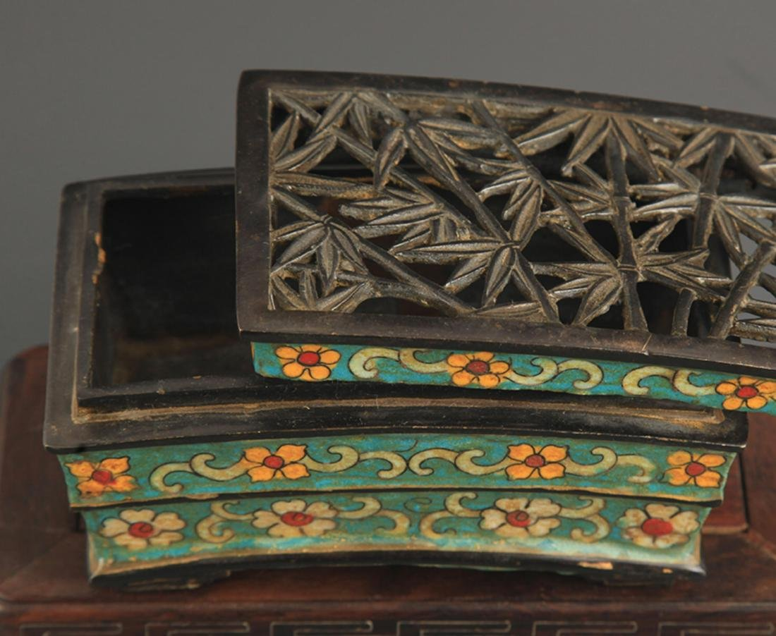 A BRONZE CLOISONNE BAMBOO STYLE AROMATHERAPY - 5