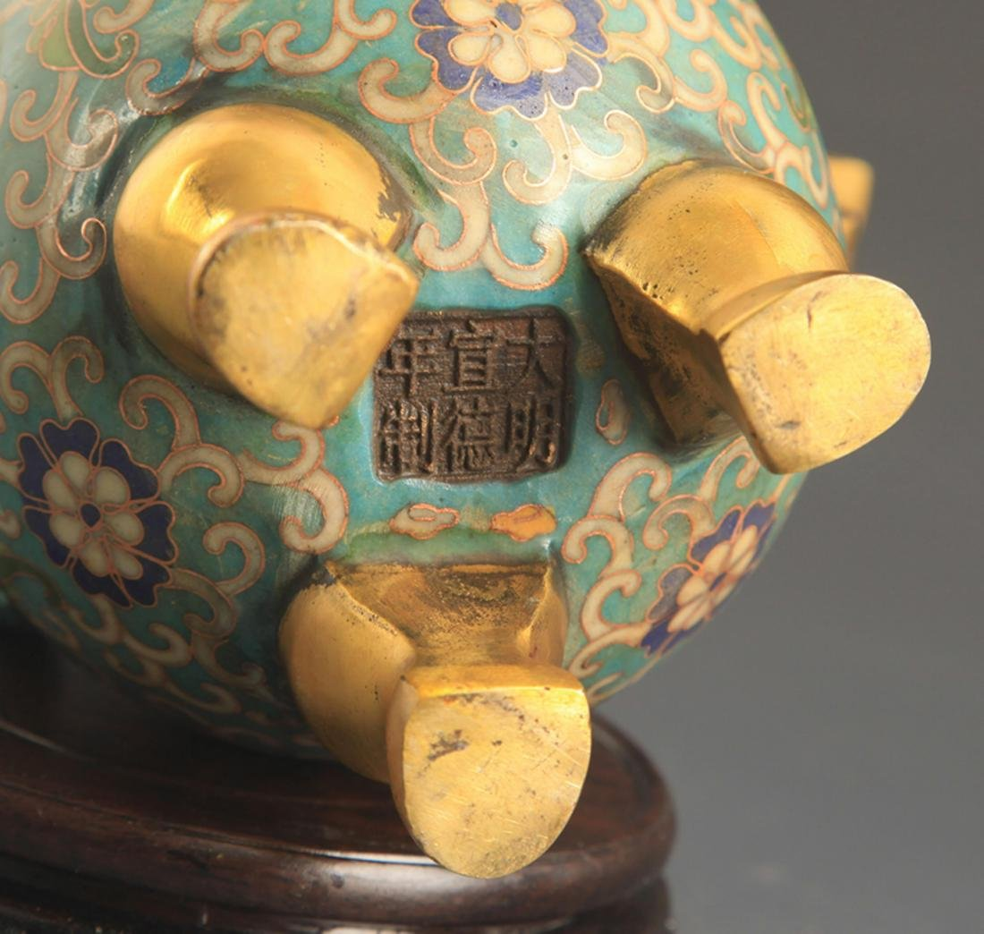 A BRONZE CLOISONNE ANIMAL TOP AROMATHERAPY - 8
