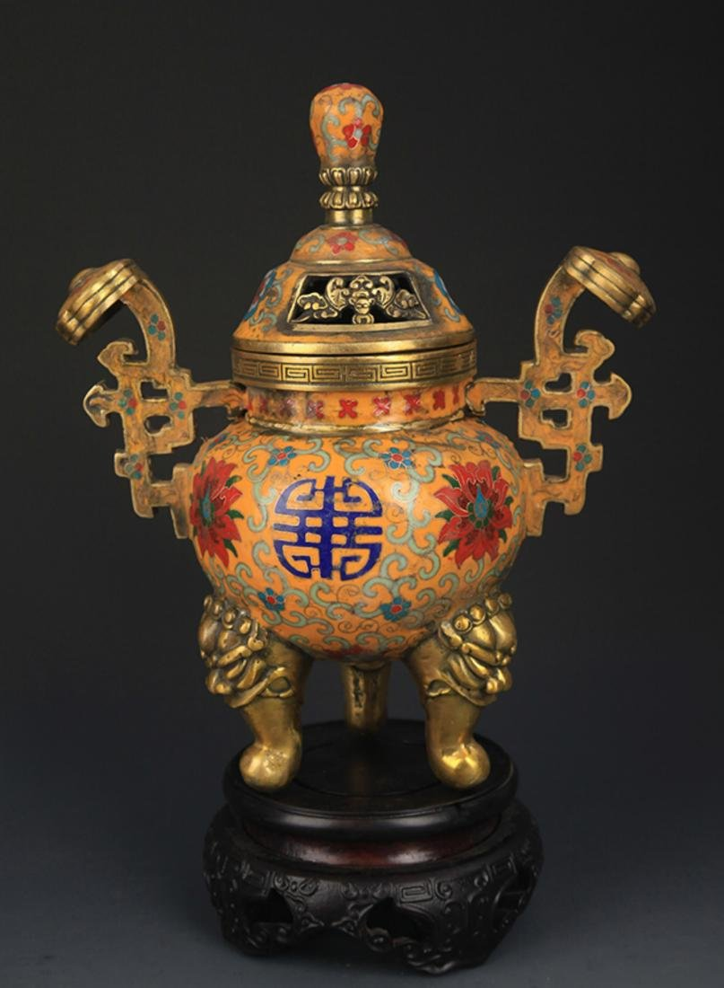 A BRONZE  CLOISONNE THREE FOOT AROMATHERAPY