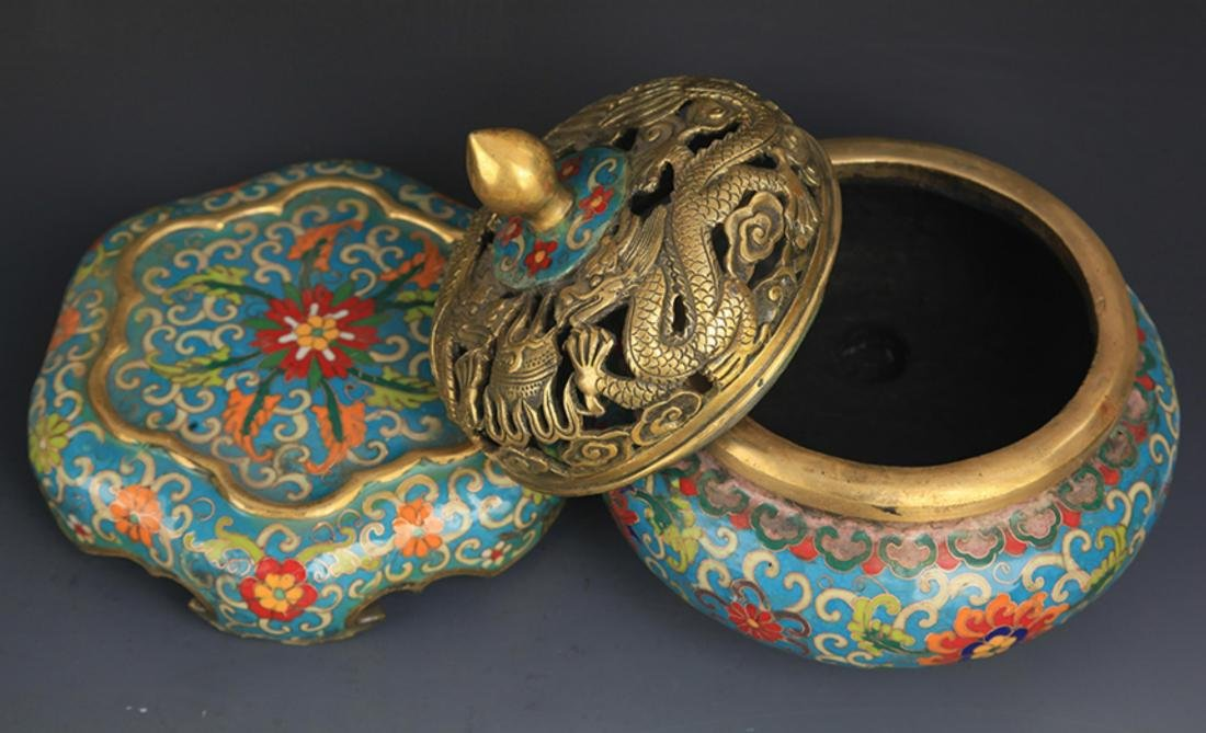 A CLOISONNE DRAGON AROMATHERAPY WITH BASE - 6