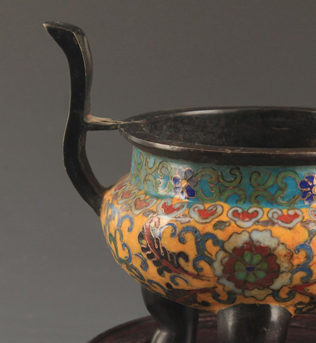 A BRONZE  CLOISONNE FLOWER PATTERN CENSER - 4