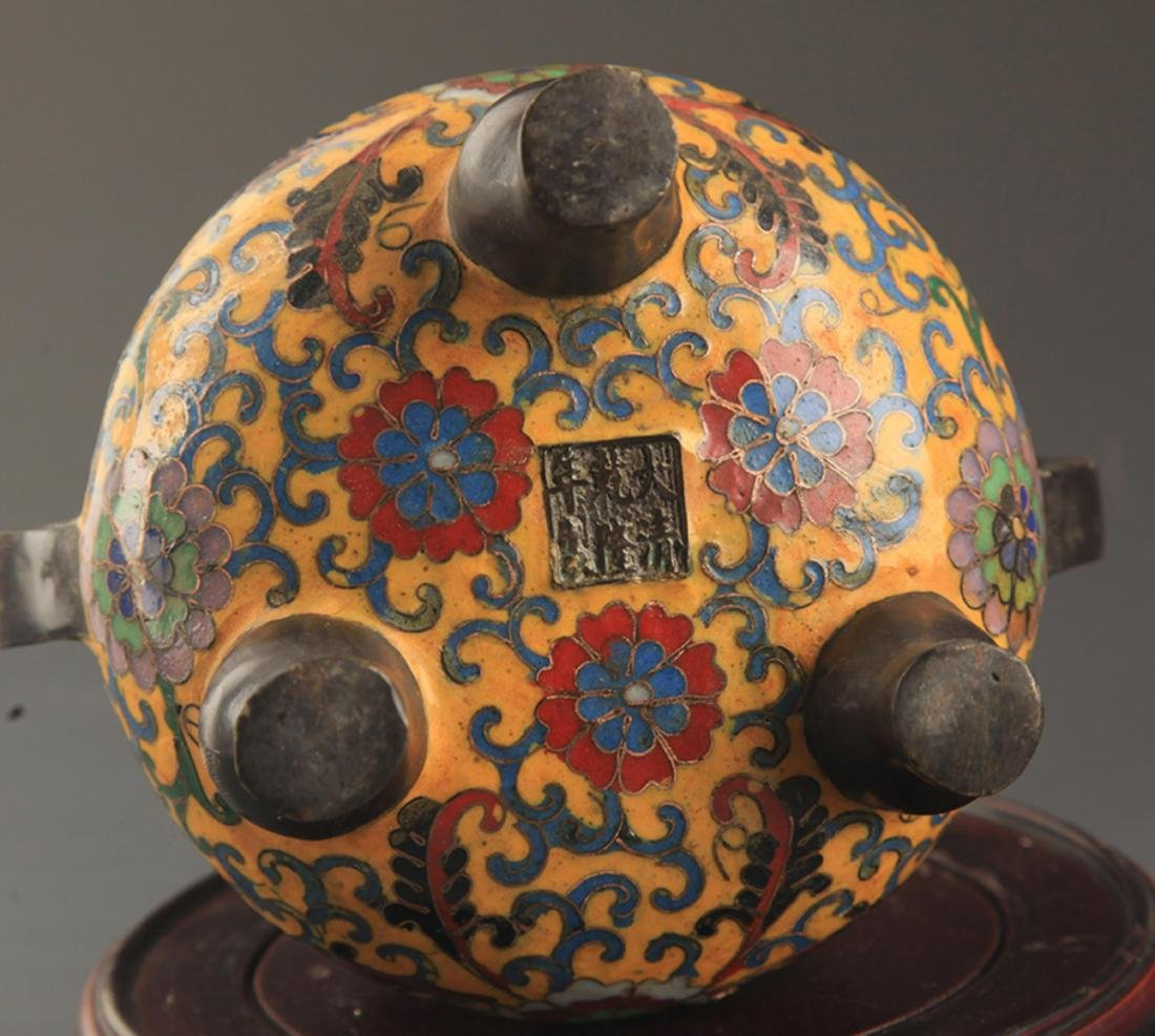 A BRONZE  CLOISONNE FLOWER PATTERN CENSER - 5