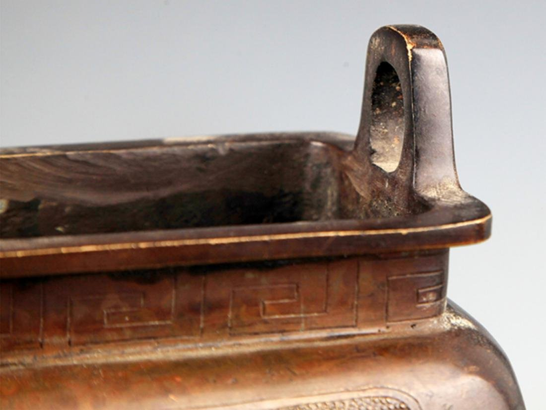 A TALL SQUARE SHAPED BRONZE CENSER - 3