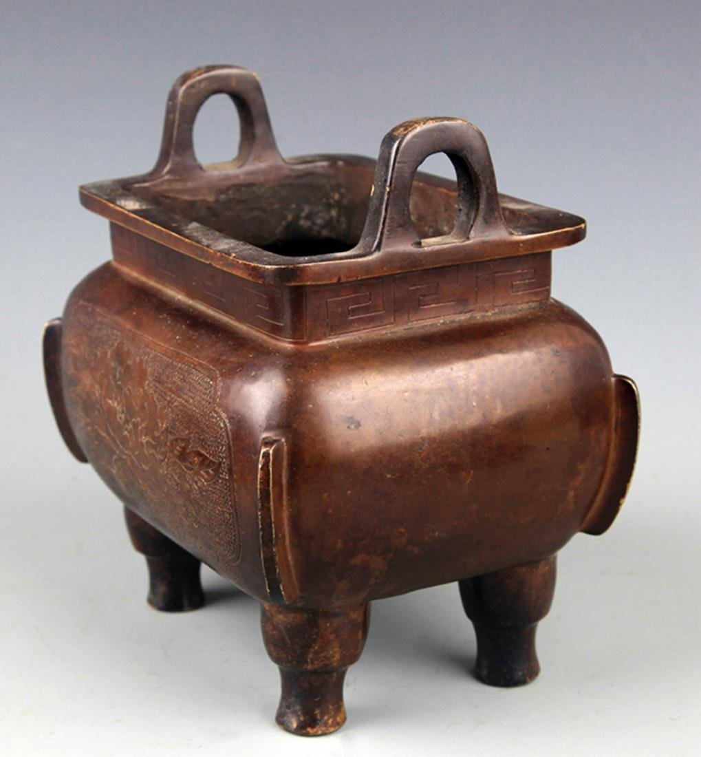 A TALL SQUARE SHAPED BRONZE CENSER - 4