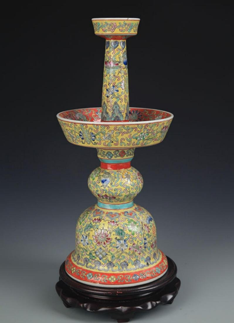 YELLOW GROUND CLOISONNE COLOR PORCELAIN CANDLESTICK