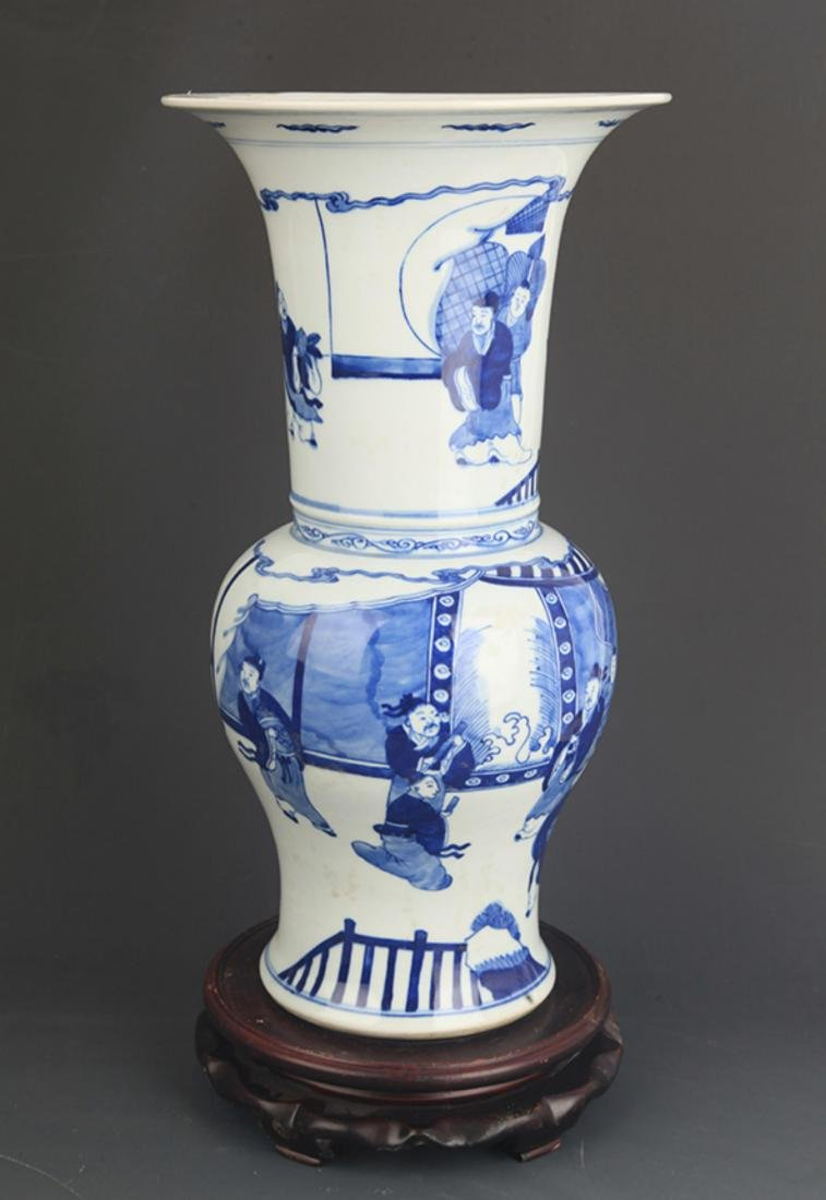 BLUE AND WHITE CHARACTER PATTERN PORCELAIN VASE