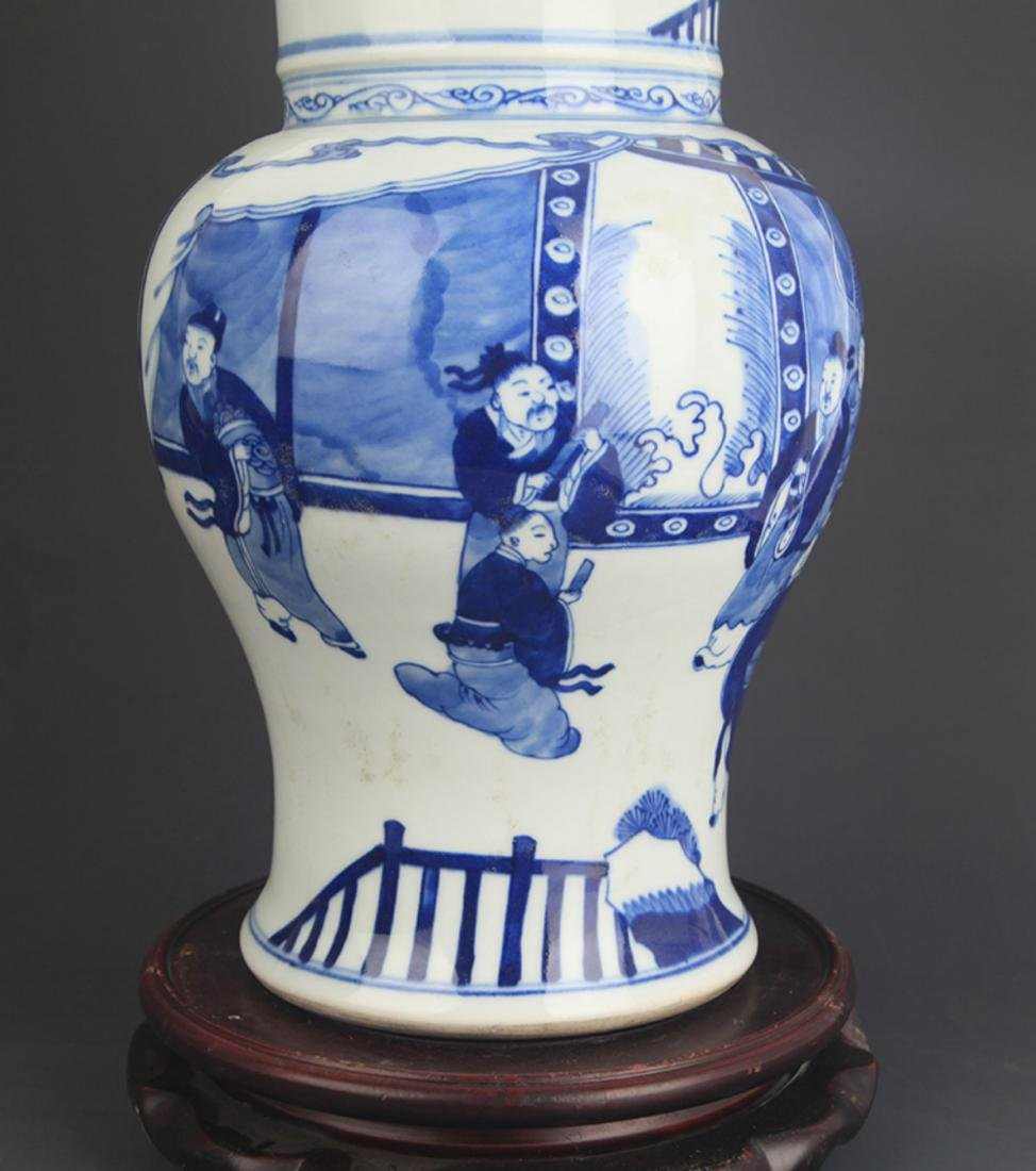 BLUE AND WHITE CHARACTER PATTERN PORCELAIN VASE - 3