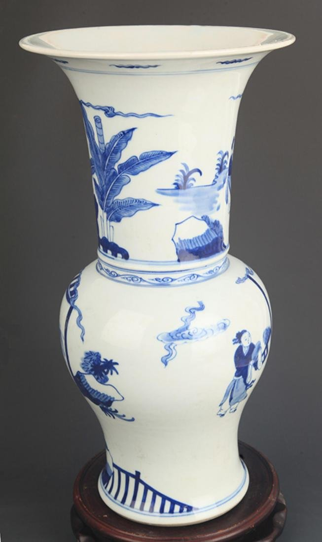 BLUE AND WHITE CHARACTER PATTERN PORCELAIN VASE - 4