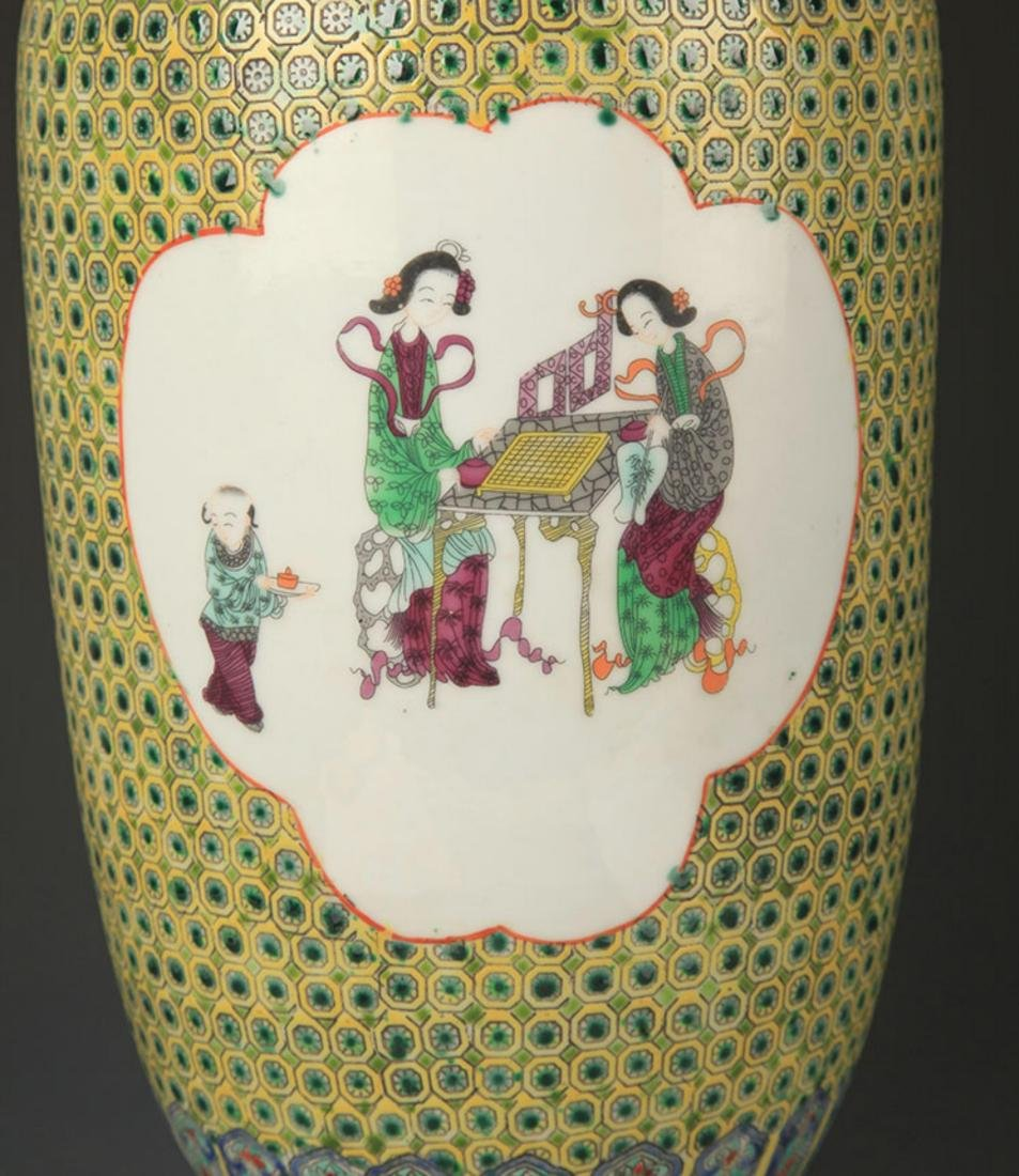 A GREEN GROUND FAMILLE ROSE DECORATIONAL VASE - 3