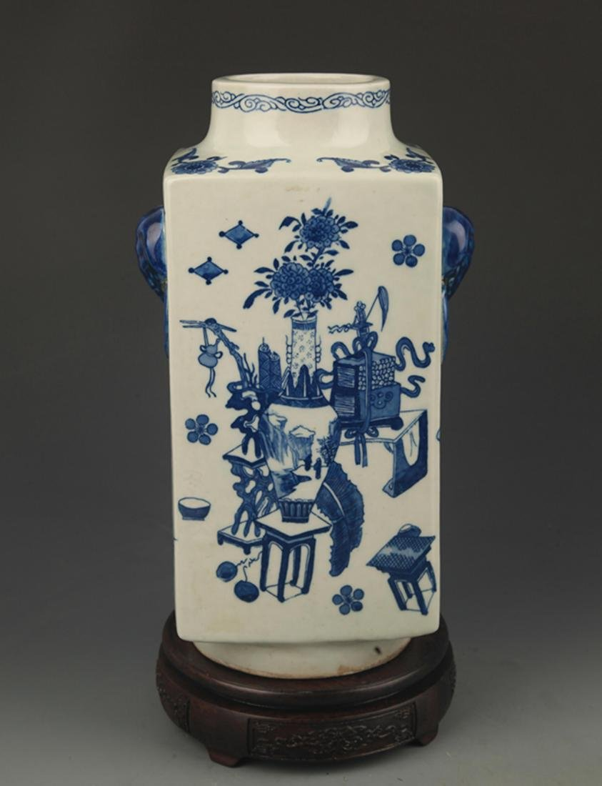 BLUE AND WHITE FLOWER PATTERN CONG STYLE VASE