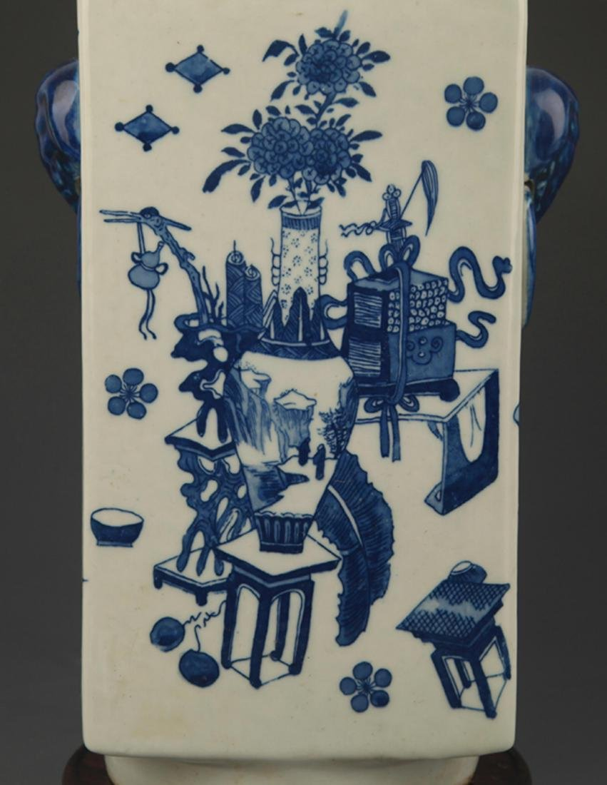BLUE AND WHITE FLOWER PATTERN CONG STYLE VASE - 3
