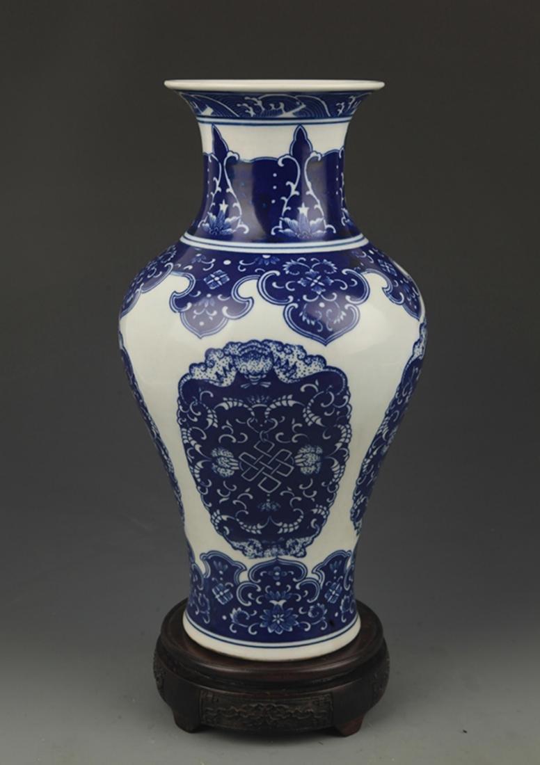 BLUE AND WHITE LONGEVITY PATTERN GUAN YIN VASE