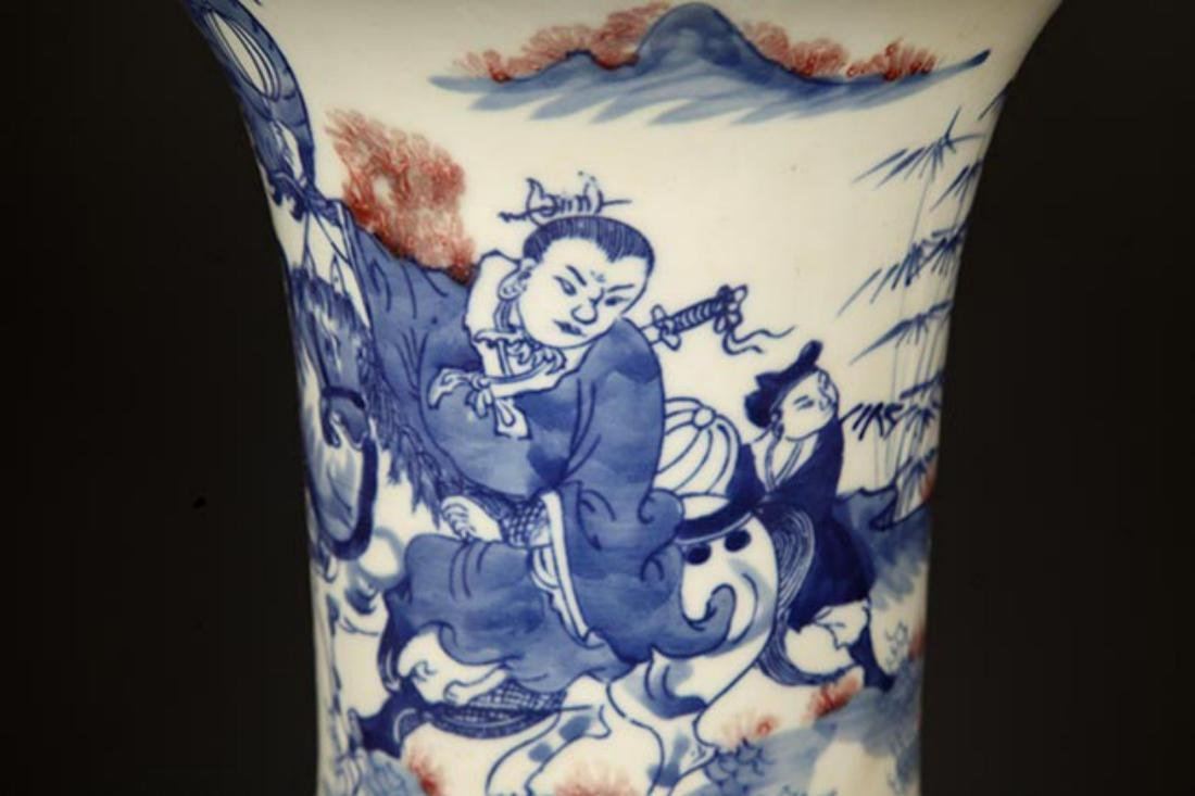 A LARGE BLUE AND WHITE STORY PORCELAIN VASE - 3