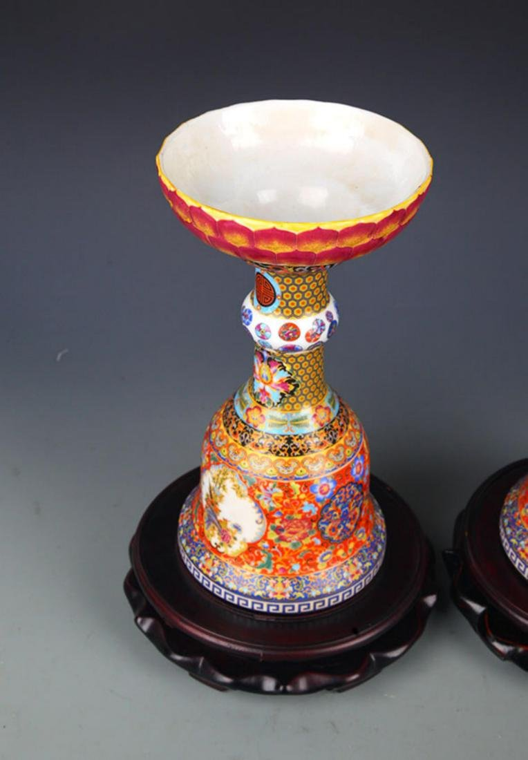PAIR OF FAMILLE ROSE BIRD PAINTED CANDLESTICKS - 6