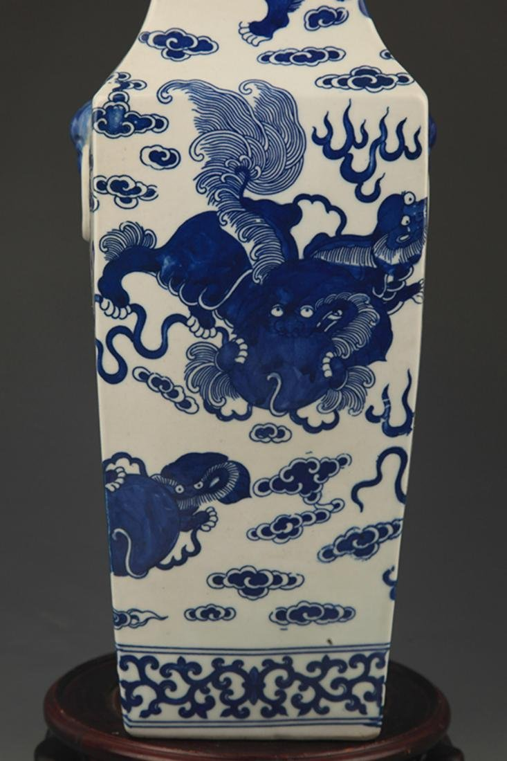 BLUE AND WHITE LION PLAYING PATTERN PORCELAIN VASE - 3