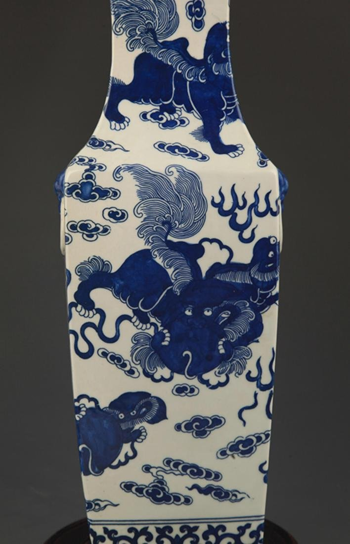 BLUE AND WHITE LION PLAYING PATTERN PORCELAIN VASE - 4