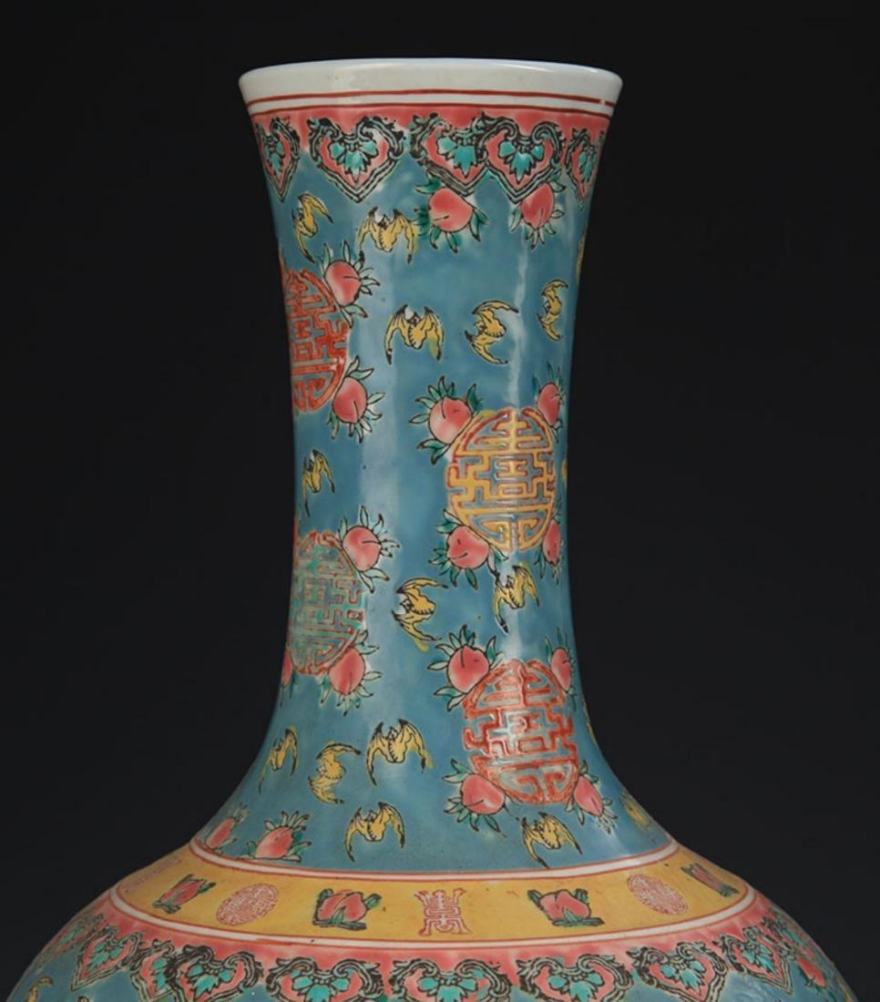 A TURQUOISE COLOR GROUND FAMILLE ROSE VASE - 2