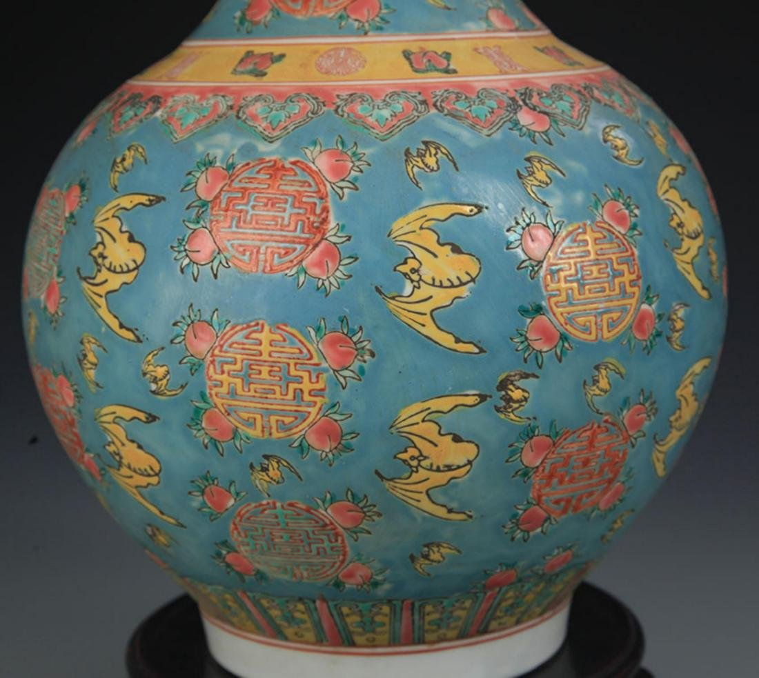 A TURQUOISE COLOR GROUND FAMILLE ROSE VASE - 5