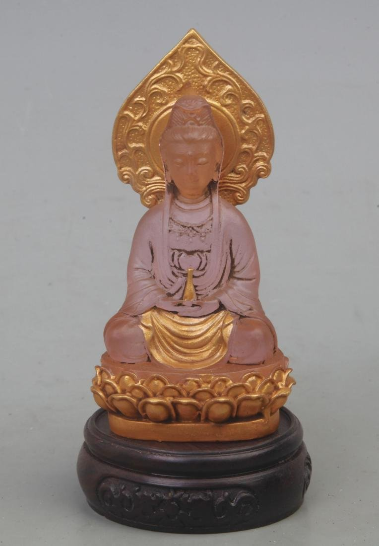 A FINE GILT GLASS GUAN YIN FIGURE