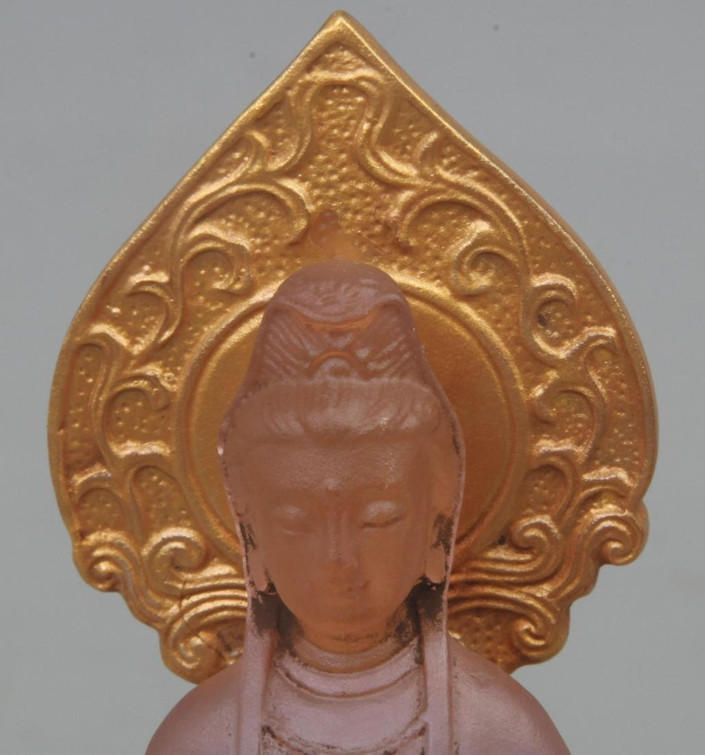 A FINE GILT GLASS GUAN YIN FIGURE - 2